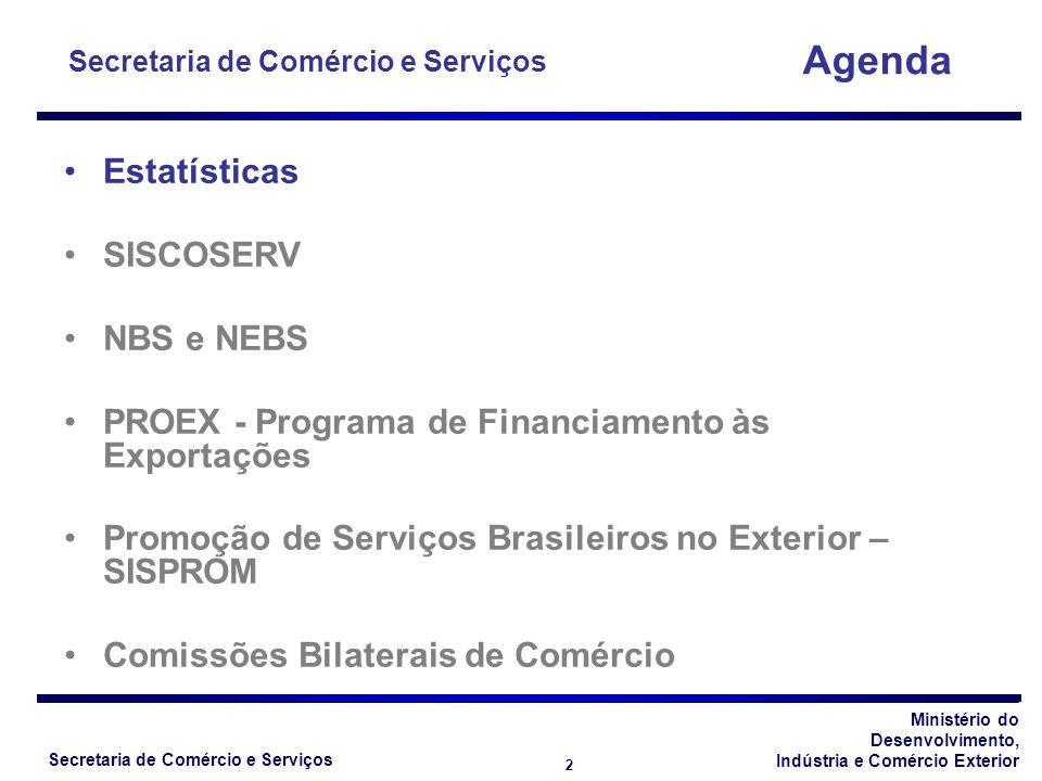 Ministério do Desenvolvimento, Indústria e Comércio Exterior Secretaria de Comércio e Serviços 2 Estatísticas SISCOSERV NBS e NEBS PROEX - Programa de Financiamento às Exportações Promoção de Serviços Brasileiros no Exterior – SISPROM Comissões Bilaterais de Comércio Agenda Secretaria de Comércio e Serviços