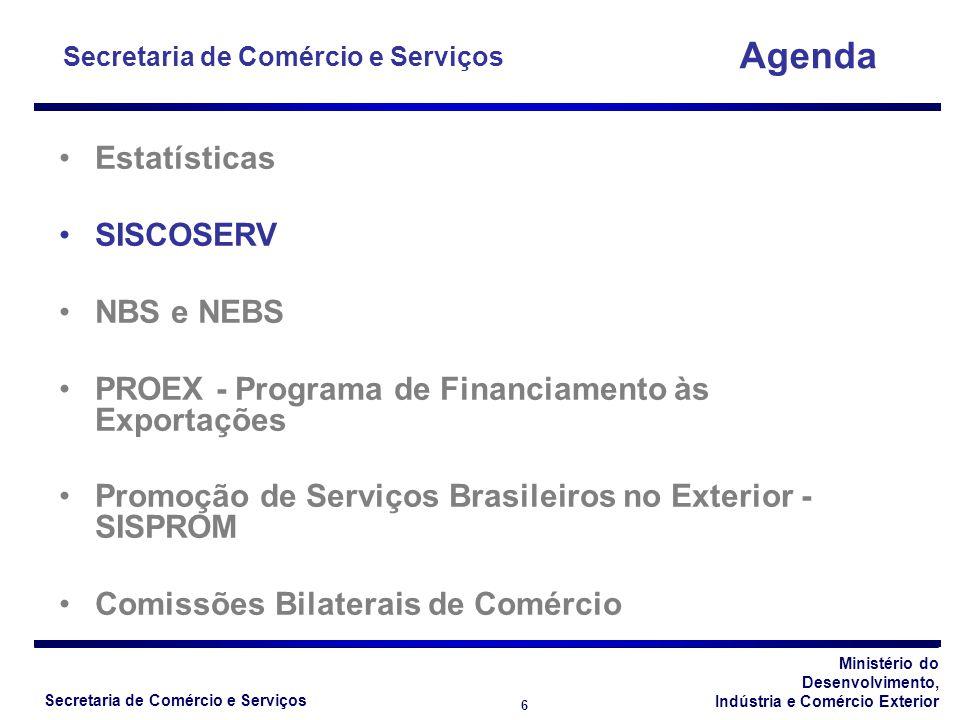 Ministério do Desenvolvimento, Indústria e Comércio Exterior Secretaria de Comércio e Serviços 6 Estatísticas SISCOSERV NBS e NEBS PROEX - Programa de Financiamento às Exportações Promoção de Serviços Brasileiros no Exterior - SISPROM Comissões Bilaterais de Comércio Agenda Secretaria de Comércio e Serviços