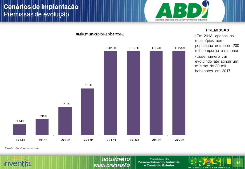 16 Cenários de implantação Premissas de evolução Fonte:Análise Inventta PREMISSAS Em 2013, apenas os municípios com população acima de 200 mil comporão o sistema.