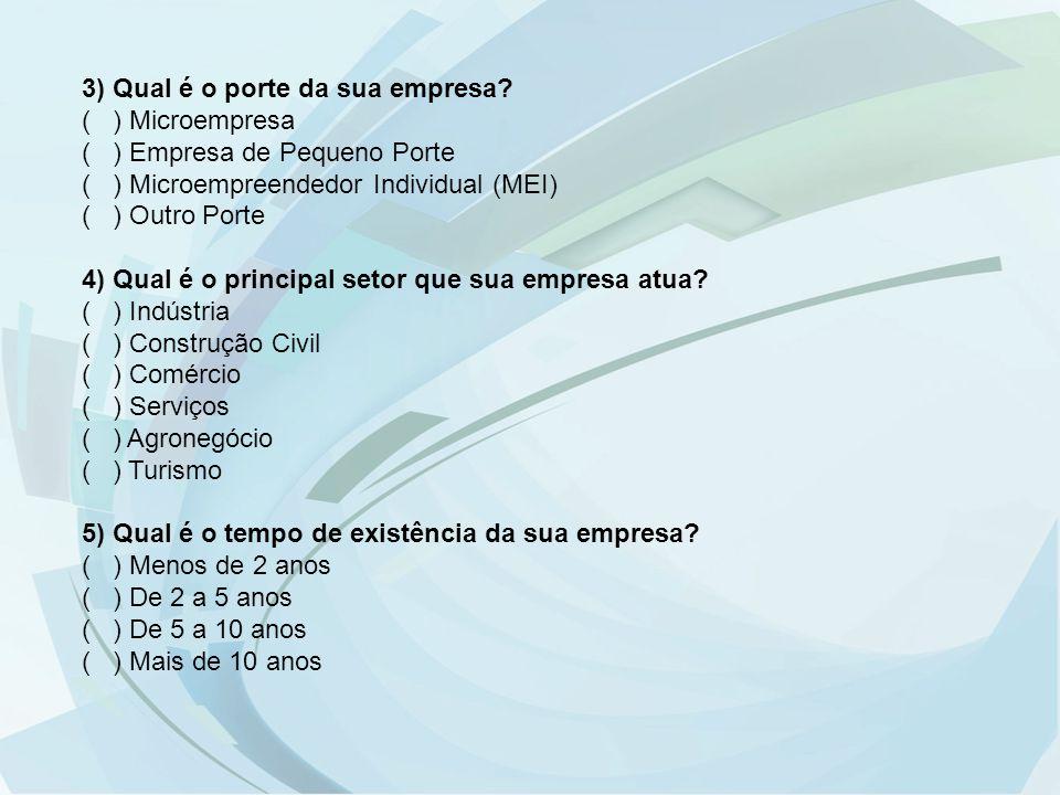 3) Qual é o porte da sua empresa? ( ) Microempresa ( ) Empresa de Pequeno Porte ( ) Microempreendedor Individual (MEI) ( ) Outro Porte 4) Qual é o pri