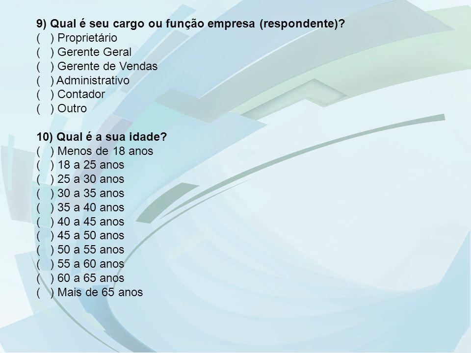 9) Qual é seu cargo ou função empresa (respondente)? ( ) Proprietário ( ) Gerente Geral ( ) Gerente de Vendas ( ) Administrativo ( ) Contador ( ) Outr