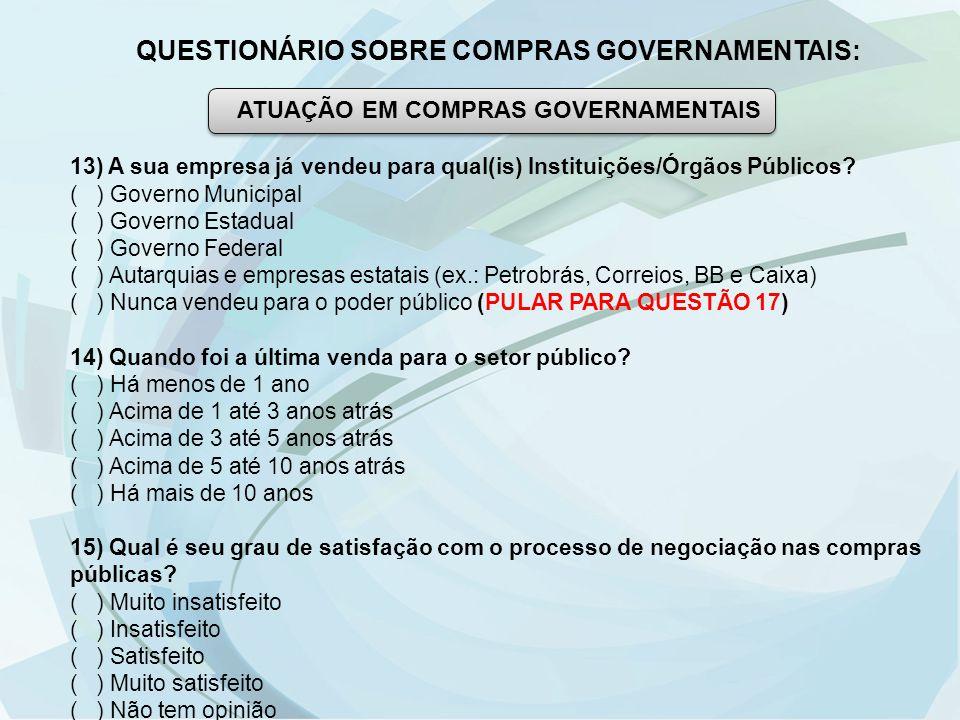 QUESTIONÁRIO SOBRE COMPRAS GOVERNAMENTAIS: ATUAÇÃO EM COMPRAS GOVERNAMENTAIS 13) A sua empresa já vendeu para qual(is) Instituições/Órgãos Públicos? (