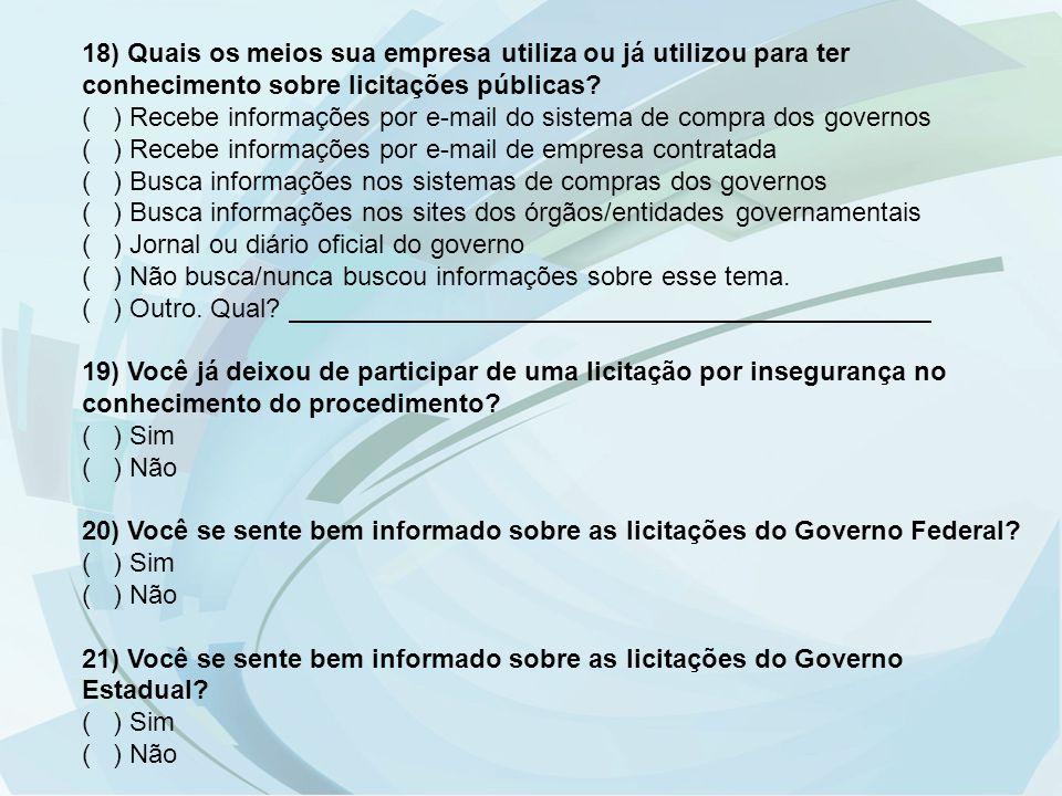 18) Quais os meios sua empresa utiliza ou já utilizou para ter conhecimento sobre licitações públicas? ( ) Recebe informações por e-mail do sistema de