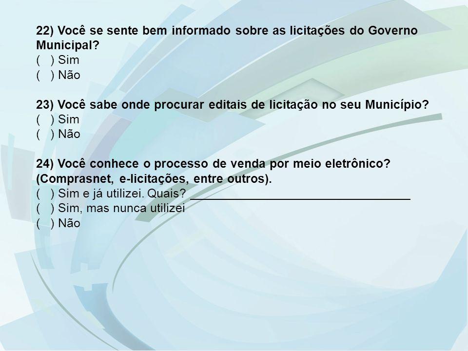 22) Você se sente bem informado sobre as licitações do Governo Municipal? ( ) Sim ( ) Não 23) Você sabe onde procurar editais de licitação no seu Muni