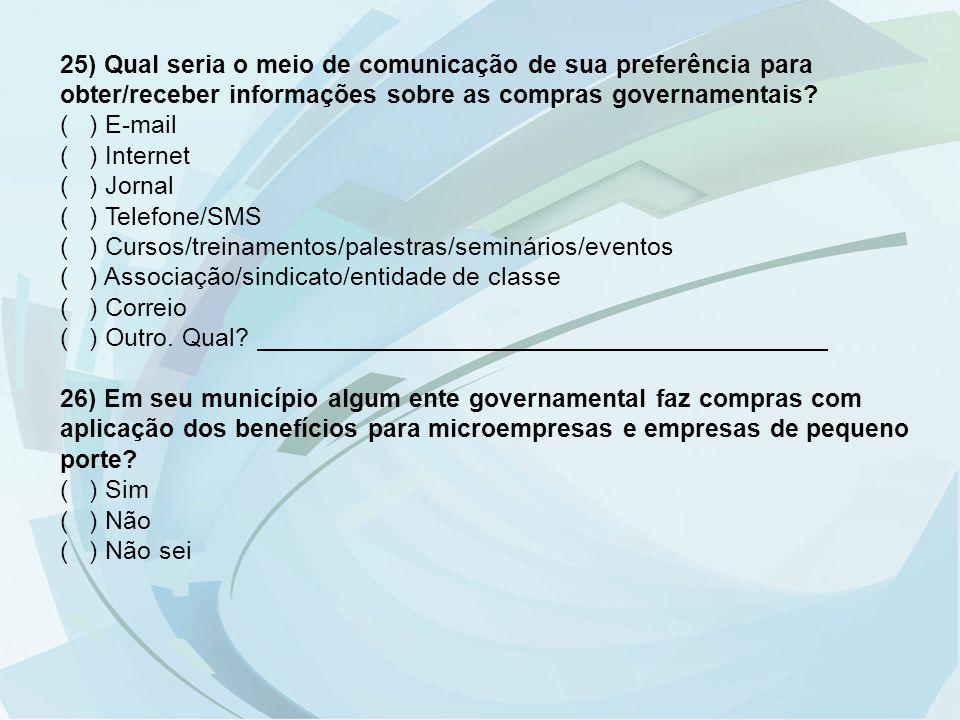 25) Qual seria o meio de comunicação de sua preferência para obter/receber informações sobre as compras governamentais? ( ) E-mail ( ) Internet ( ) Jo