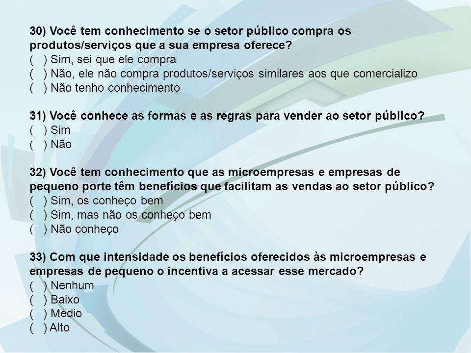 30) Você tem conhecimento se o setor público compra os produtos/serviços que a sua empresa oferece? ( ) Sim, sei que ele compra ( ) Não, ele não compr