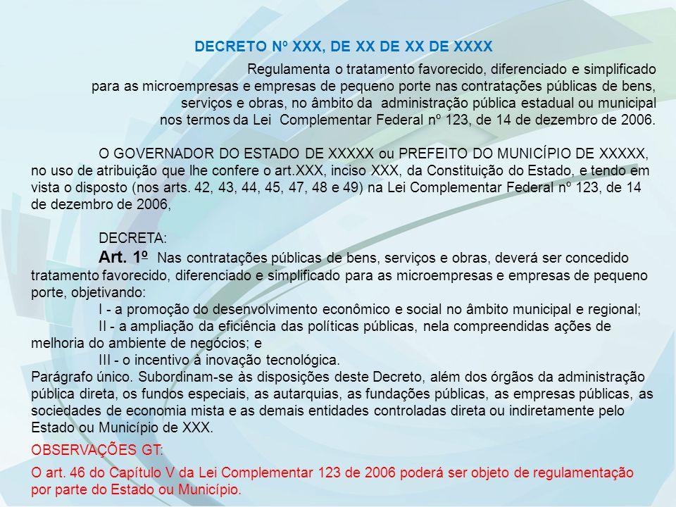 DECRETO Nº XXX, DE XX DE XX DE XXXX Regulamenta o tratamento favorecido, diferenciado e simplificado para as microempresas e empresas de pequeno porte