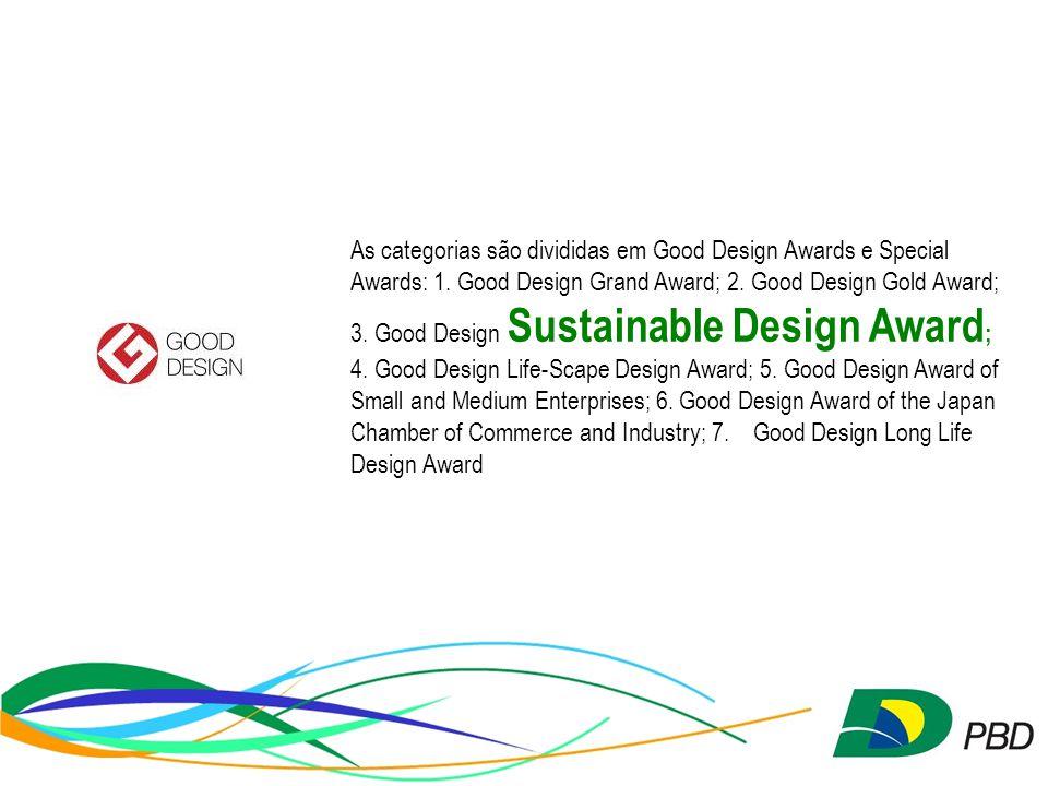 As categorias são divididas em Good Design Awards e Special Awards: 1.
