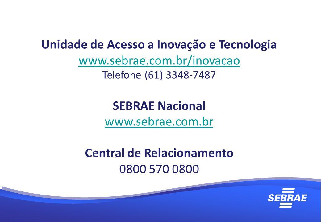 Unidade de Acesso a Inovação e Tecnologia www.sebrae.com.br/inovacao Telefone (61) 3348-7487 SEBRAE Nacional www.sebrae.com.br Central de Relacionamento 0800 570 0800