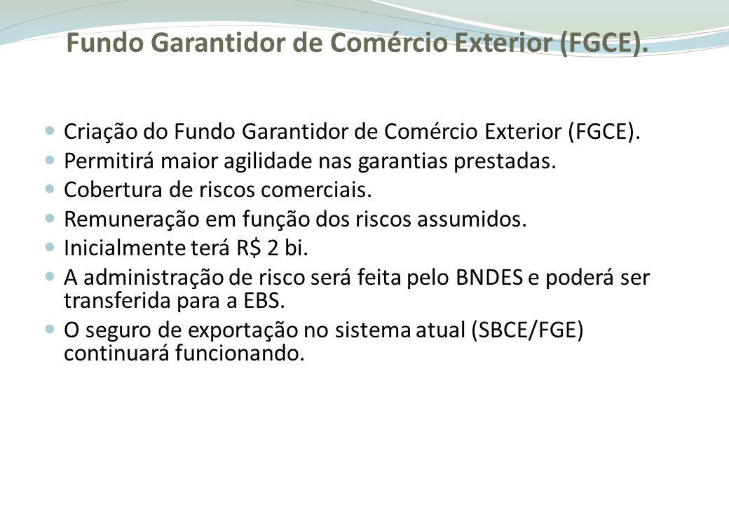 Criação do EXIM Brasil Agência especializada em comércio exterior para dar maior celeridade e efetividade ao apoio às operações de exportação (pós embarque); Subsidiária integral do BNDES; A FINAME será transformada em EXIM Brasil; As atuais operações FINAME não relacionadas a comércio exterior serão repassadas ao BNDES; As operações de comércio exterior do BNDES serão repassadas ao EXIM Brasil; A linha FINAME continuará operando normalmente sob o BNDES.