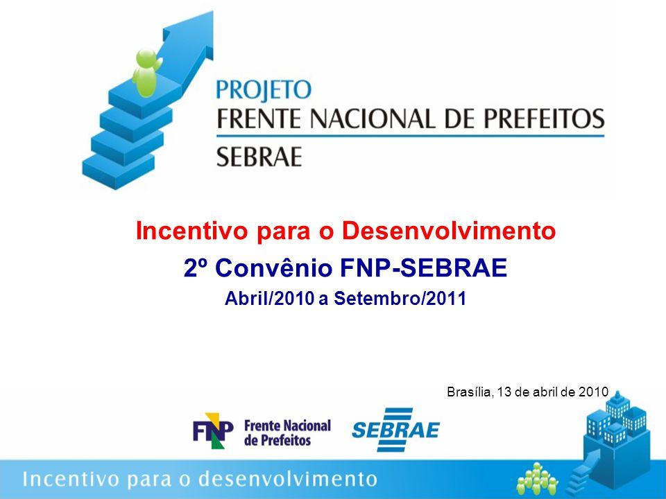 Incentivo para o Desenvolvimento 2º Convênio FNP-SEBRAE Abril/2010 a Setembro/2011 Brasília, 13 de abril de 2010