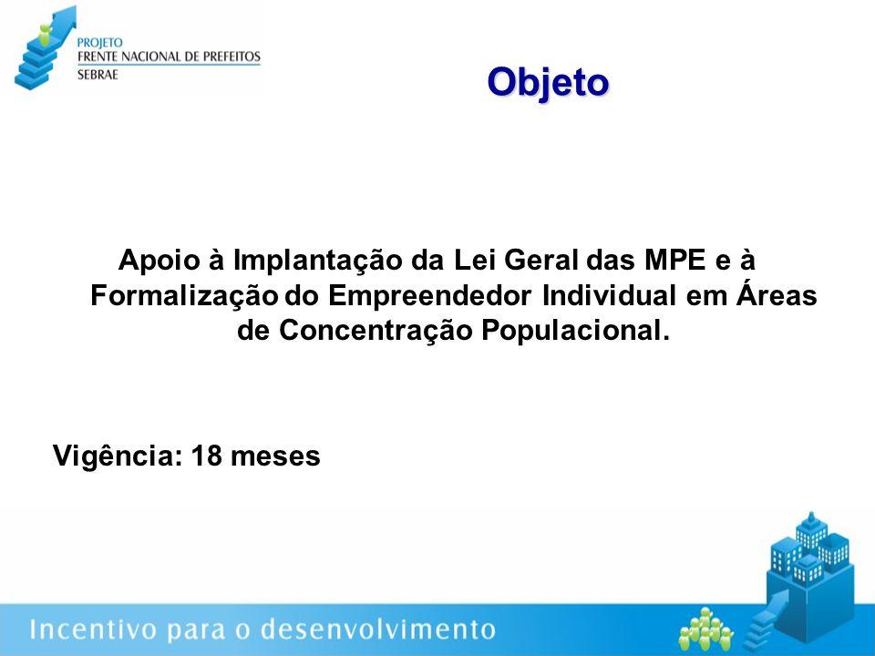 Objeto Apoio à Implantação da Lei Geral das MPE e à Formalização do Empreendedor Individual em Áreas de Concentração Populacional.