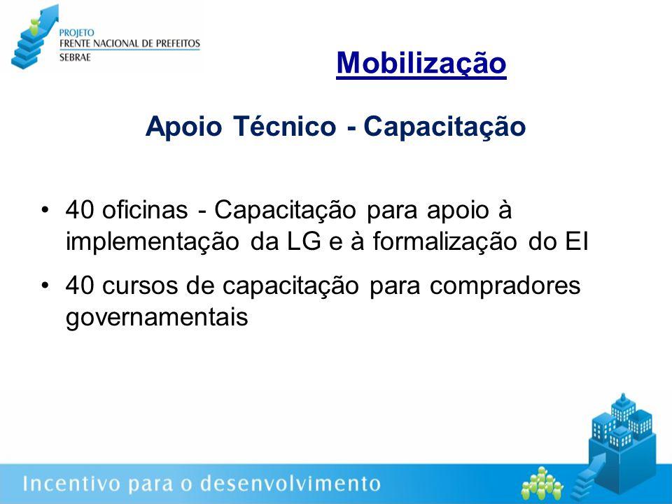 Mobilização Apoio Técnico - Capacitação 40 oficinas - Capacitação para apoio à implementação da LG e à formalização do EI 40 cursos de capacitação para compradores governamentais
