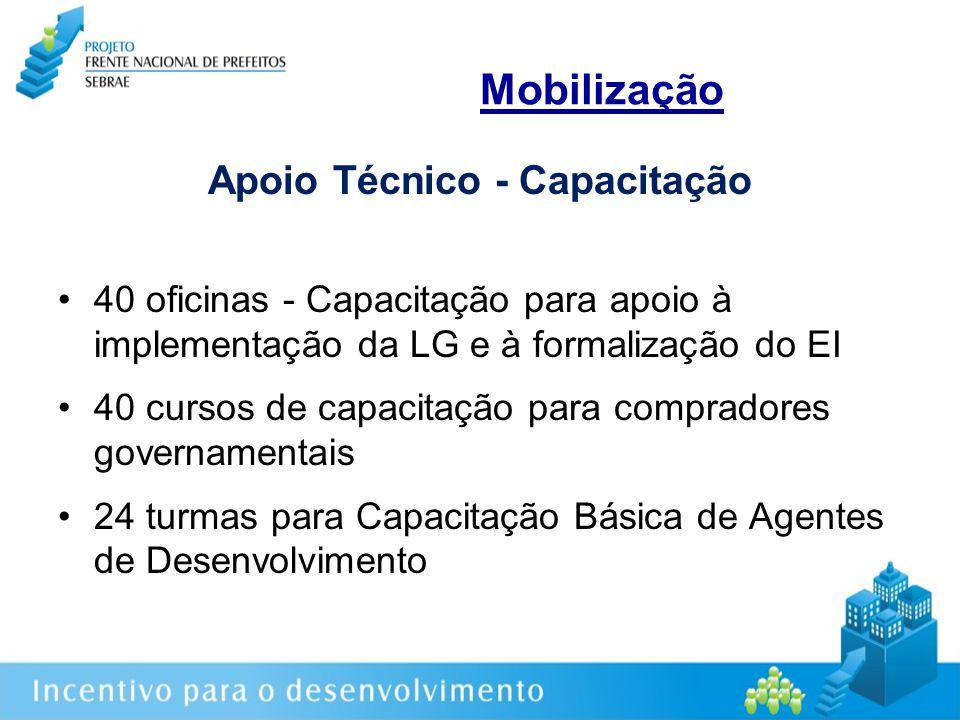 Mobilização Apoio Técnico - Capacitação 40 oficinas - Capacitação para apoio à implementação da LG e à formalização do EI 40 cursos de capacitação para compradores governamentais 24 turmas para Capacitação Básica de Agentes de Desenvolvimento