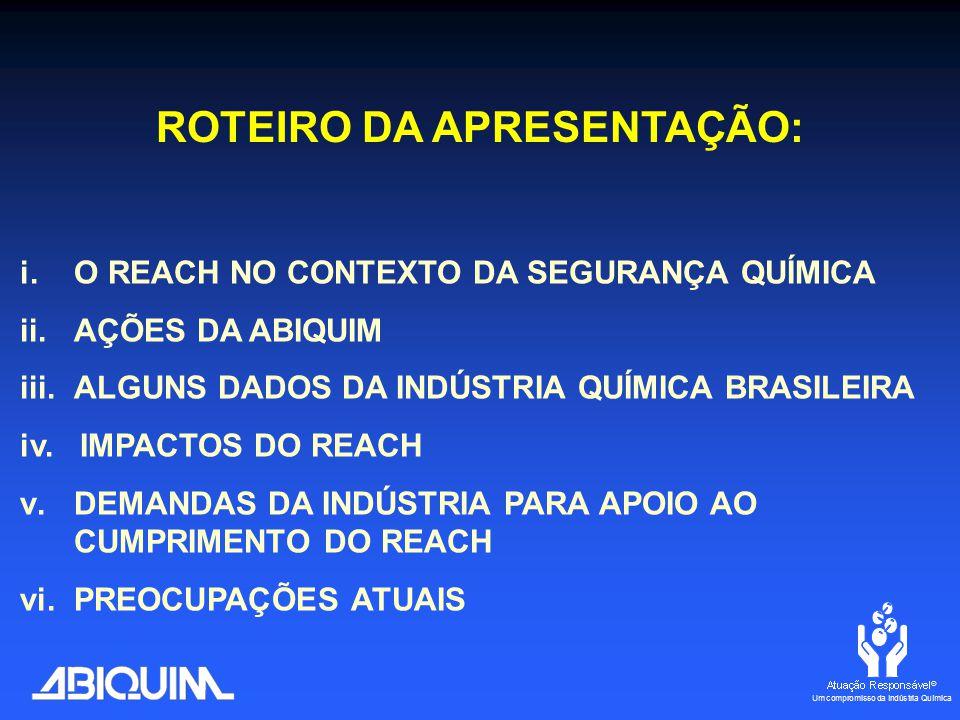 i.O REACH NO CONTEXTO DA SEGURANÇA QUÍMICA ii.AÇÕES DA ABIQUIM iii.ALGUNS DADOS DA INDÚSTRIA QUÍMICA BRASILEIRA iv.