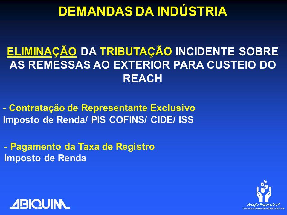 DEMANDAS DA INDÚSTRIA ELIMINAÇÃO DA TRIBUTAÇÃO INCIDENTE SOBRE AS REMESSAS AO EXTERIOR PARA CUSTEIO DO REACH - Contratação de Representante Exclusivo Imposto de Renda/ PIS COFINS/ CIDE/ ISS - Pagamento da Taxa de Registro Imposto de Renda