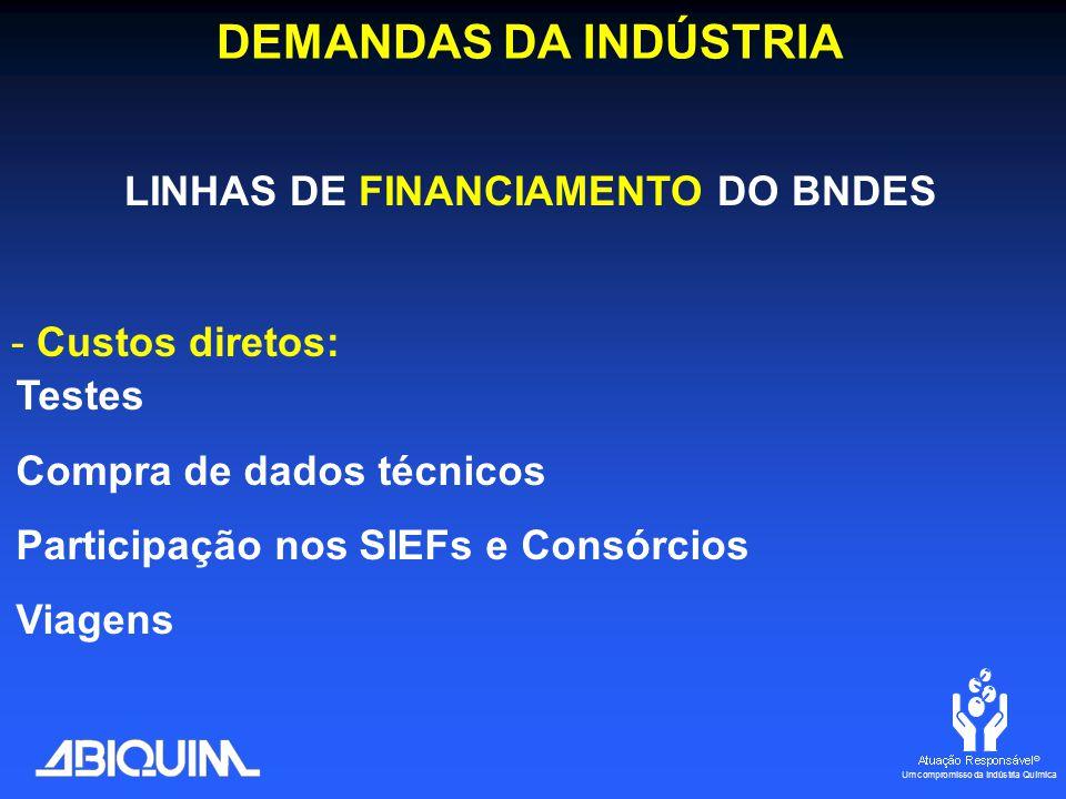 LINHAS DE FINANCIAMENTO DO BNDES - Custos diretos: Testes Compra de dados técnicos Participação nos SIEFs e Consórcios Viagens DEMANDAS DA INDÚSTRIA