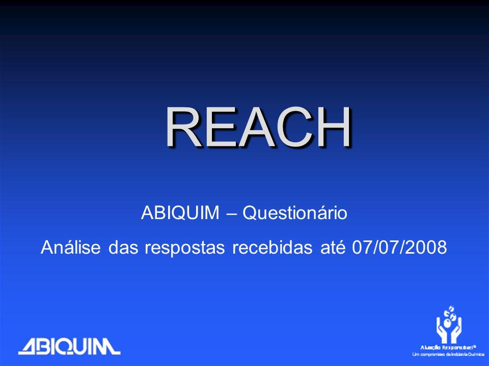 REACHREACH ABIQUIM – Questionário Análise das respostas recebidas até 07/07/2008