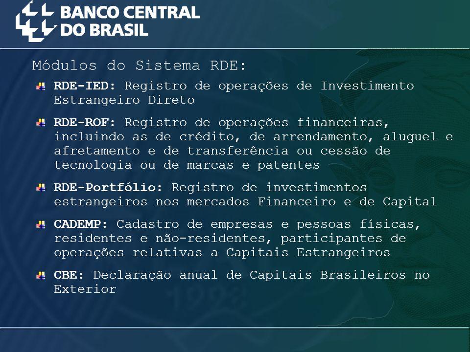 RDE-IED: Registro de operações de Investimento Estrangeiro Direto RDE-ROF: Registro de operações financeiras, incluindo as de crédito, de arrendamento