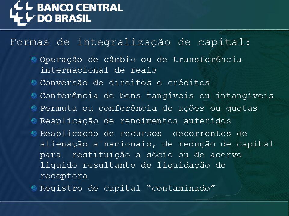 Operação de câmbio ou de transferência internacional de reais Conversão de direitos e créditos Conferência de bens tangíveis ou intangíveis Permuta ou