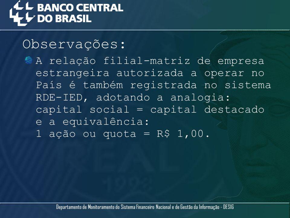 A relação filial-matriz de empresa estrangeira autorizada a operar no País é também registrada no sistema RDE-IED, adotando a analogia: capital social