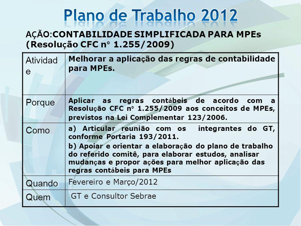 A Ç ÃO: CONTABILIDADE SIMPLIFICADA PARA MPEs (Resolu ç ão CFC n º 1.255/2009) Atividad e Melhorar a aplica ç ão das regras de contabilidade para MPEs.