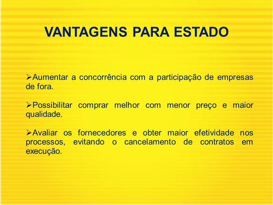 VANTAGENS PARA ESTADO  Aumentar a concorrência com a participação de empresas de fora.