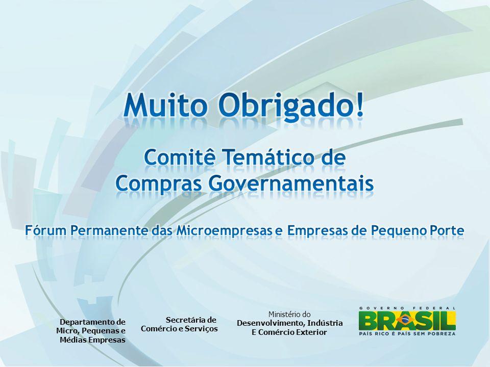 Ministério do Desenvolvimento, Indústria E Comércio Exterior Secretária de Comércio e Serviços Departamento de Micro, Pequenas e Médias Empresas