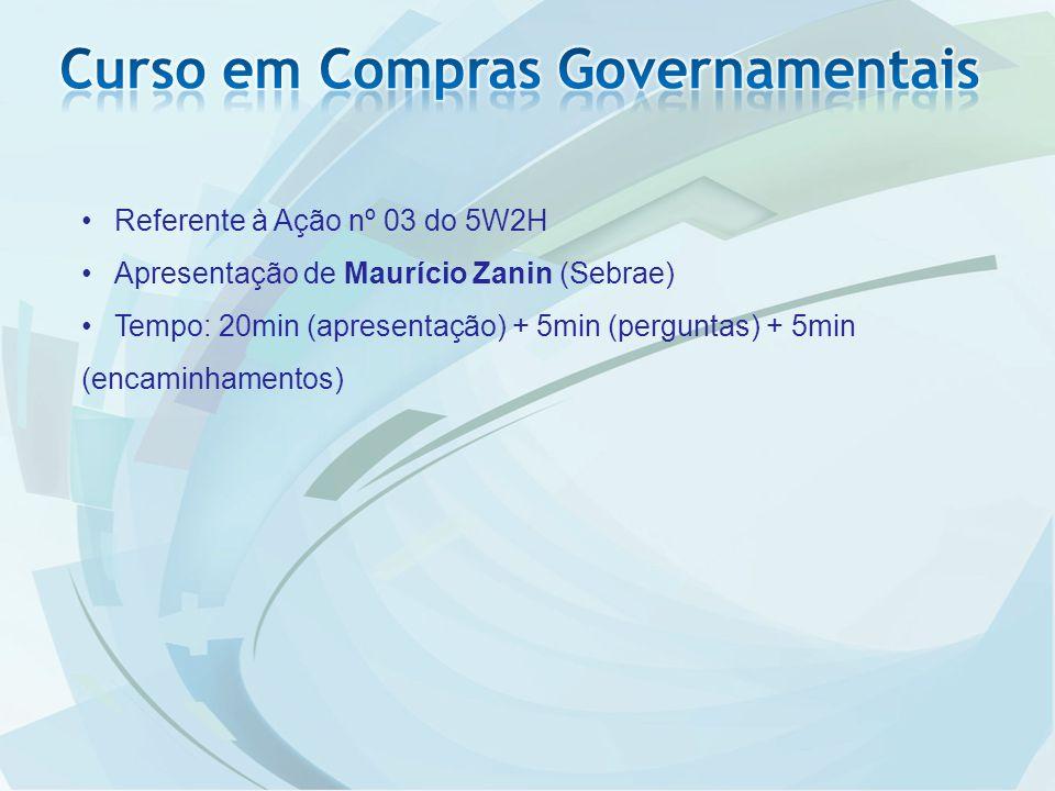 Referente à Ação nº 03 do 5W2H Apresentação de Maurício Zanin (Sebrae) Tempo: 20min (apresentação) + 5min (perguntas) + 5min (encaminhamentos)