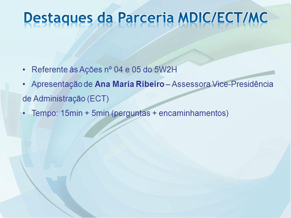 Referente às Ações nº 04 e 05 do 5W2H Apresentação de Ana Maria Ribeiro – Assessora Vice-Presidência de Administração (ECT) Tempo: 15min + 5min (perguntas + encaminhamentos)