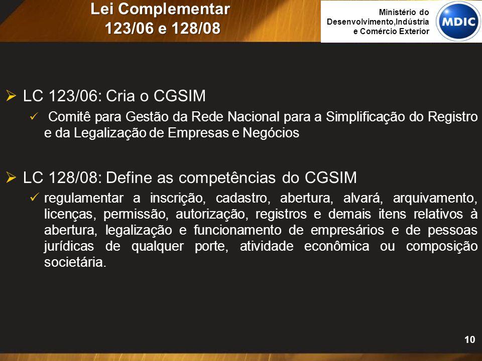 Lei Complementar 123/06 e 128/08  LC 123/06: Cria o CGSIM Comitê para Gestão da Rede Nacional para a Simplificação do Registro e da Legalização de Em