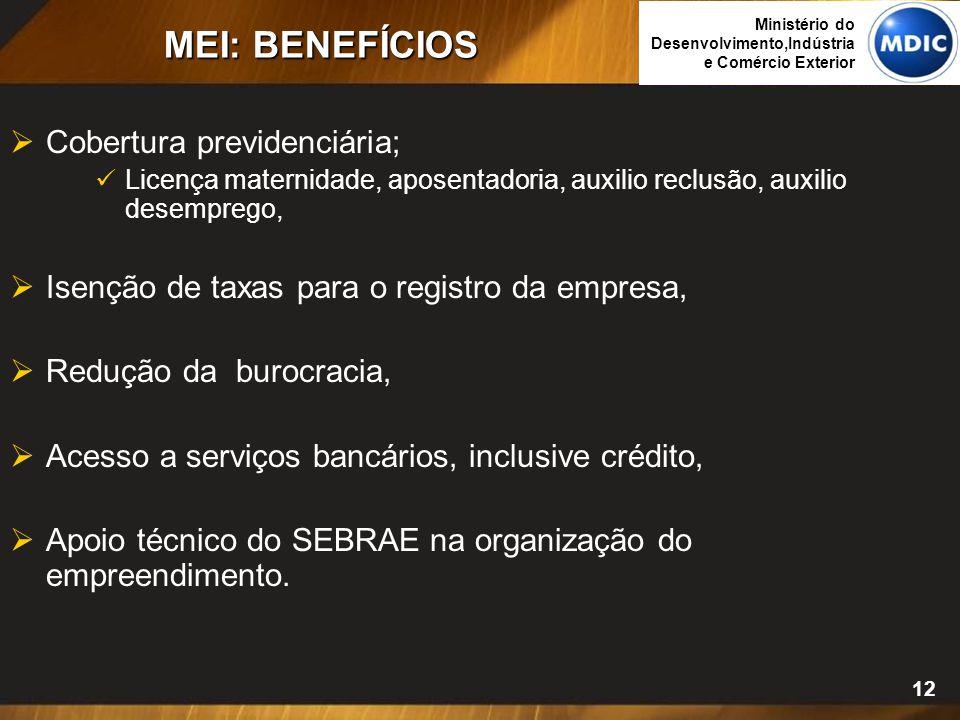 12 MEI: BENEFÍCIOS  Cobertura previdenciária; Licença maternidade, aposentadoria, auxilio reclusão, auxilio desemprego,  Isenção de taxas para o reg