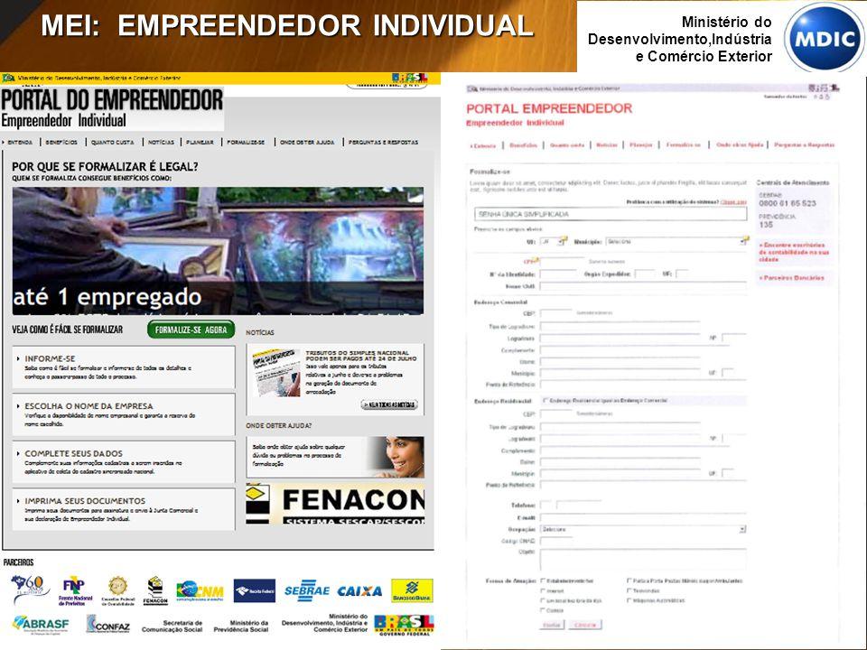 13 Ministério do Desenvolvimento,Indústria e Comércio Exterior MEI: EMPREENDEDOR INDIVIDUAL