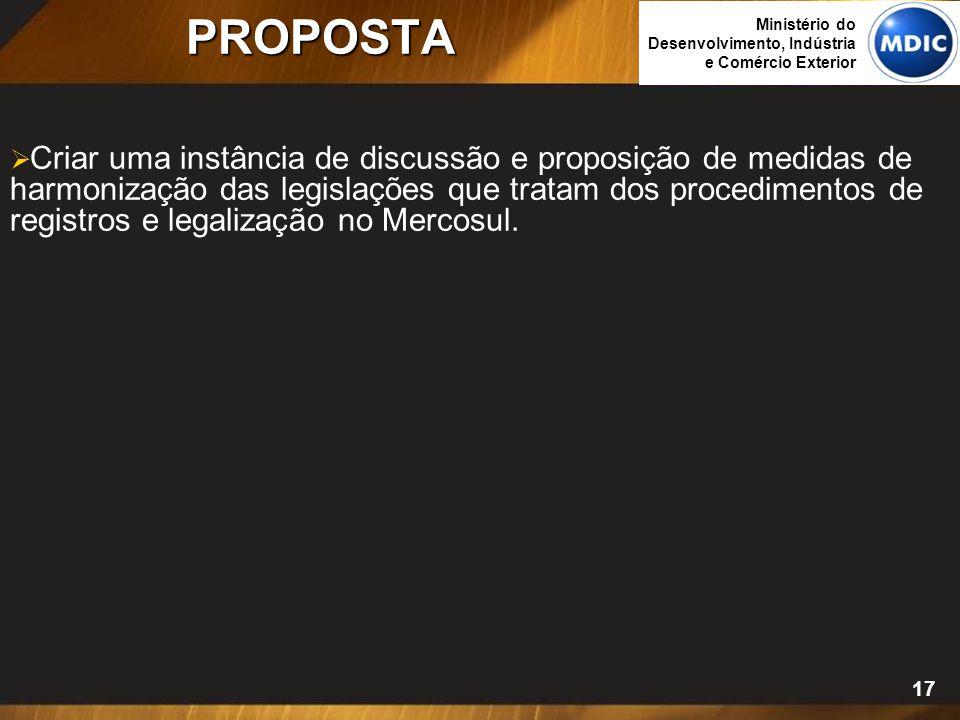 17 PROPOSTA  Criar uma instância de discussão e proposição de medidas de harmonização das legislações que tratam dos procedimentos de registros e leg