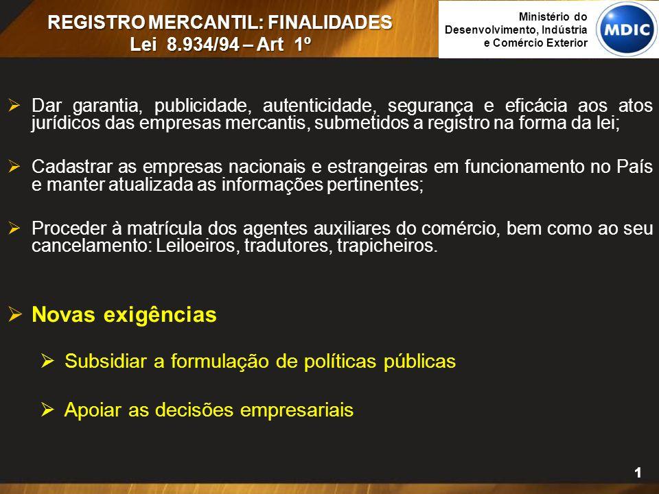 11 REGISTRO MERCANTIL: FINALIDADES Lei 8.934/94 – Art 1º  Dar garantia, publicidade, autenticidade, segurança e eficácia aos atos jurídicos das empre