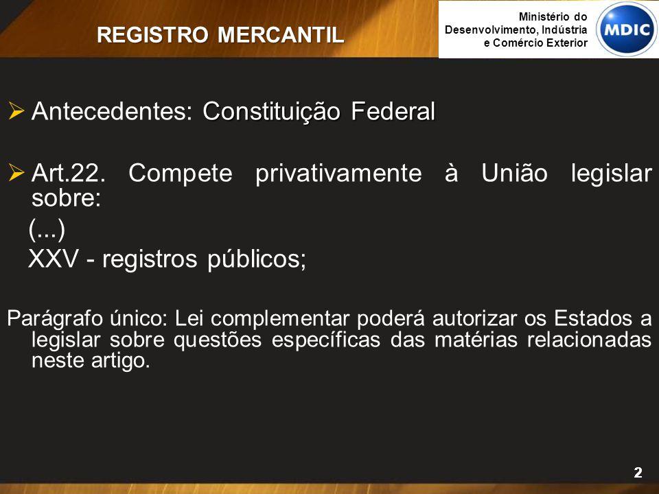 22 Constituição Federal  Antecedentes: Constituição Federal  Art.22. Compete privativamente à União legislar sobre: (...) XXV - registros públicos;
