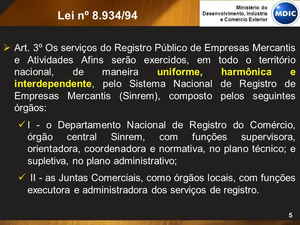 5  Art. 3º Os serviços do Registro Público de Empresas Mercantis e Atividades Afins serão exercidos, em todo o território nacional, de maneira unifor