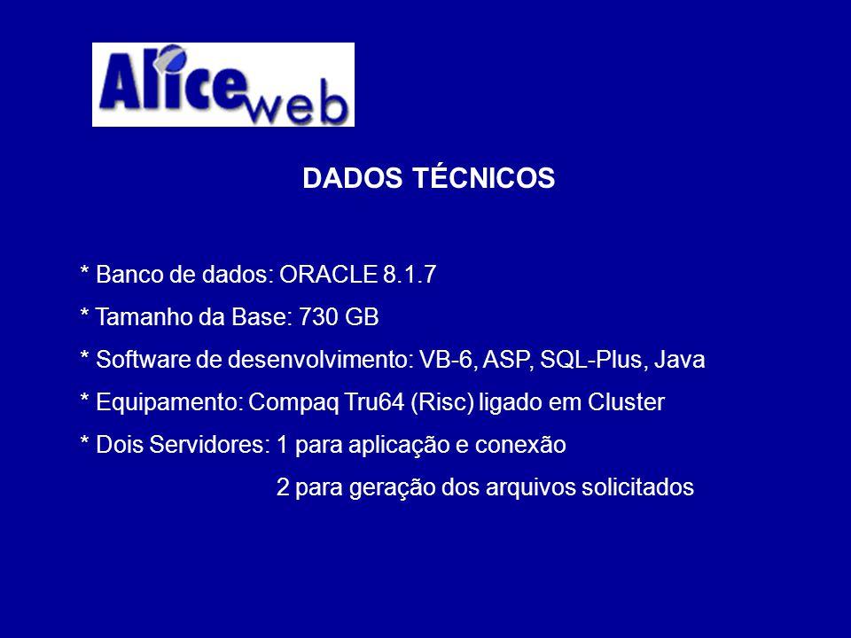 DADOS TÉCNICOS * Banco de dados: ORACLE 8.1.7 * Tamanho da Base: 730 GB * Software de desenvolvimento: VB-6, ASP, SQL-Plus, Java * Equipamento: Compaq Tru64 (Risc) ligado em Cluster * Dois Servidores: 1 para aplicação e conexão 2 para geração dos arquivos solicitados