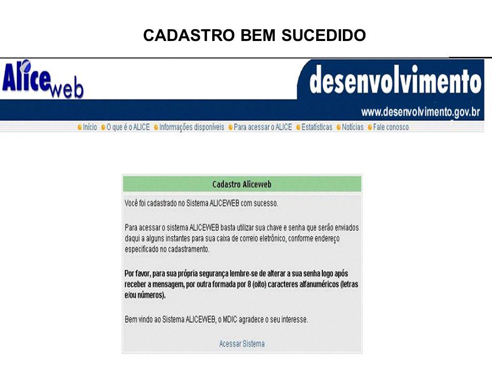CASOS DE CADASTROS MAL SUCEDIDOS