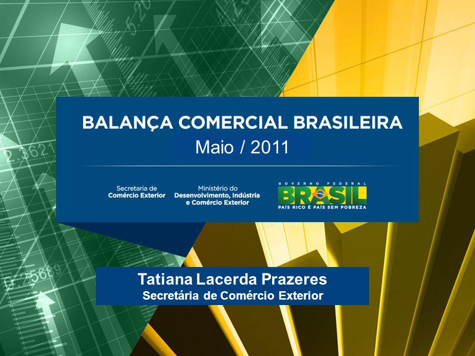 BALANÇA COMERCIAL BRASILEIRA Maio/2011 Tatiana Lacerda Prazeres Secretária de Comércio Exterior