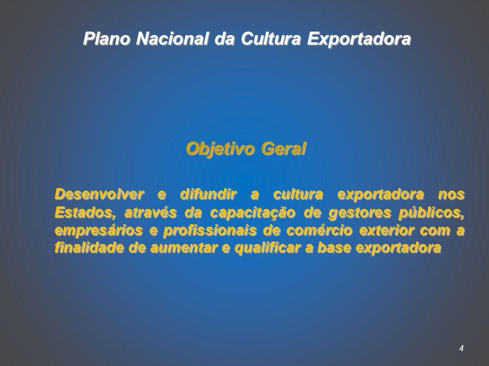4 Objetivo Geral Desenvolver e difundir a cultura exportadora nos Estados, através da capacitação de gestores públicos, empresários e profissionais de comércio exterior com a finalidade de aumentar e qualificar a base exportadora Plano Nacional da Cultura Exportadora