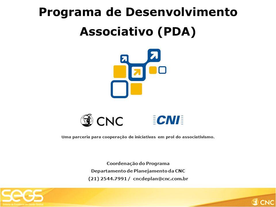 Programa de Desenvolvimento Associativo (PDA) Uma parceria para cooperação de iniciativas em prol do associativismo.