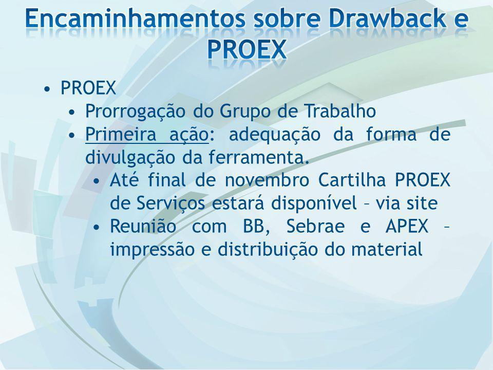 PROEX Prorrogação do Grupo de Trabalho Primeira ação: adequação da forma de divulgação da ferramenta. Até final de novembro Cartilha PROEX de Serviços