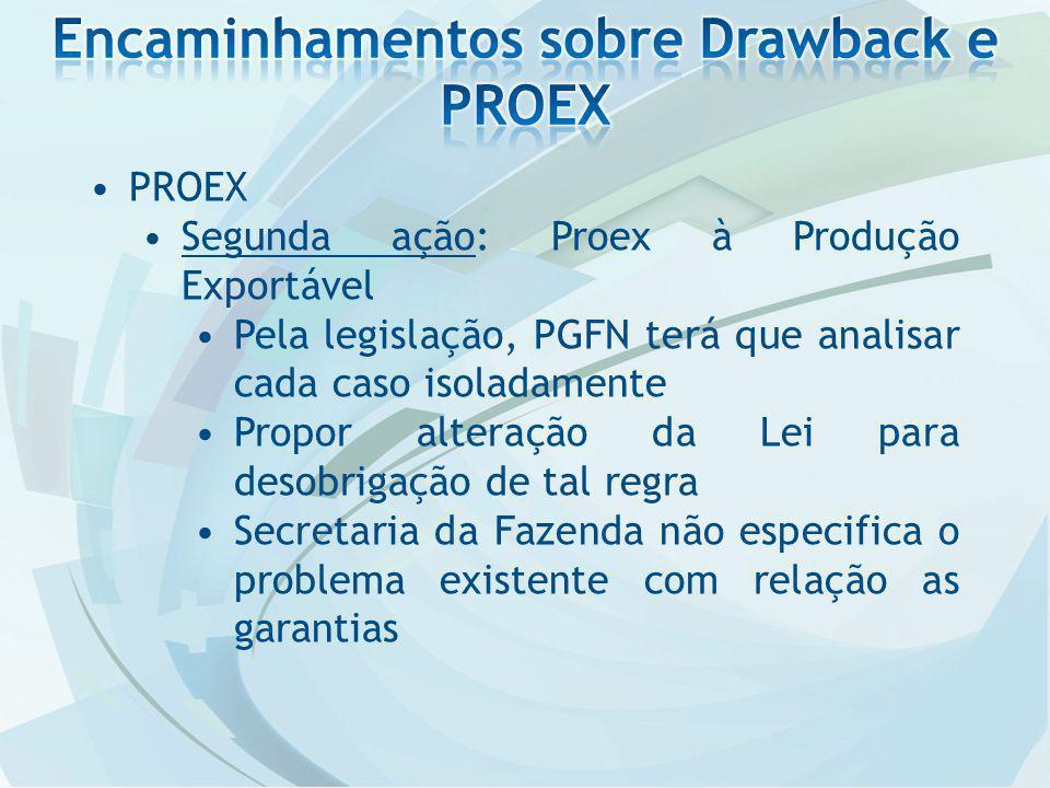 PROEX Segunda ação: Proex à Produção Exportável Pela legislação, PGFN terá que analisar cada caso isoladamente Propor alteração da Lei para desobrigação de tal regra Secretaria da Fazenda não especifica o problema existente com relação as garantias