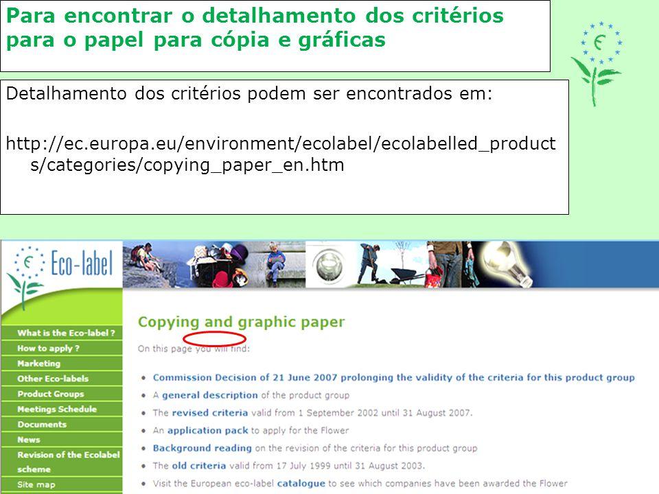 Para encontrar o detalhamento dos critérios para o papel para cópia e gráficas Detalhamento dos critérios podem ser encontrados em: http://ec.europa.e