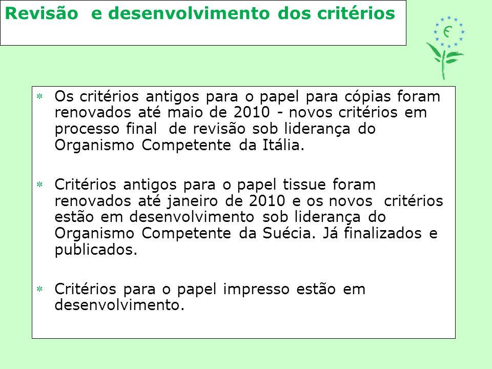 Revisão e desenvolvimento dos critérios Os critérios antigos para o papel para cópias foram renovados até maio de 2010 - novos critérios em processo