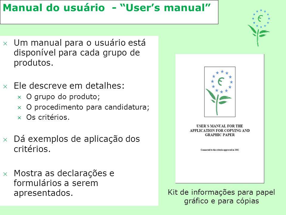 """Manual do usuário - """"User's manual"""" Um manual para o usuário está disponível para cada grupo de produtos. Ele descreve em detalhes: O grupo do prod"""