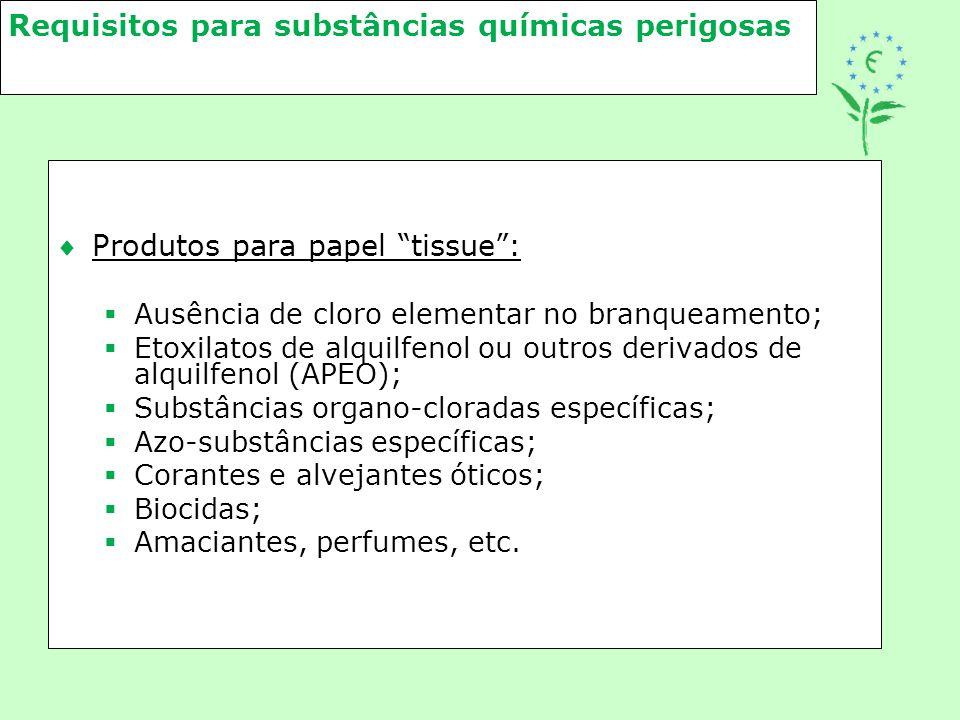 """Requisitos para substâncias químicas perigosas Produtos para papel """"tissue"""":  Ausência de cloro elementar no branqueamento;  Etoxilatos de alquilfe"""