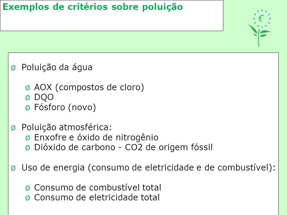 Exemplos de critérios sobre poluição øPoluição da água øAOX (compostos de cloro) øDQO øFósforo (novo) øPoluição atmosférica: øEnxofre e óxido de nitro