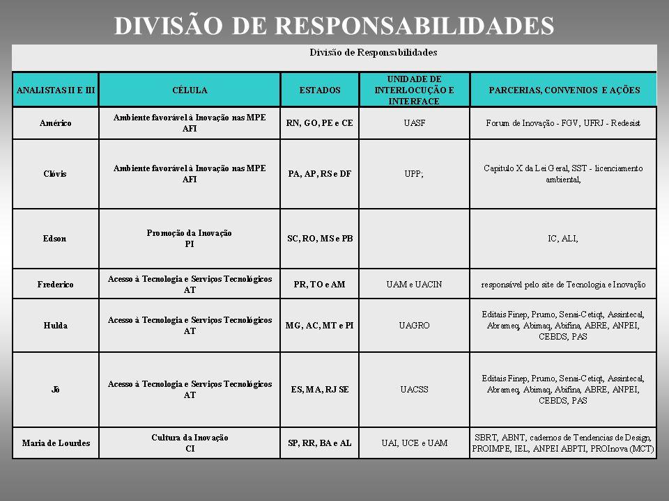 DIVISÃO DE RESPONSABILIDADES